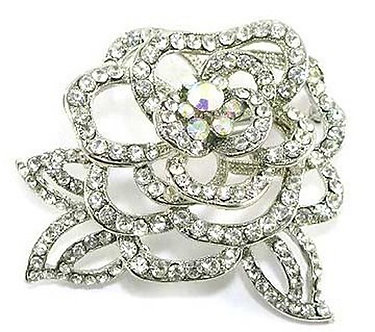 BP85 Trendy Crystal Paved Rose Flower Brooch