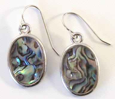 EA68 Oval Abalone Shell Fish Hook Earrings