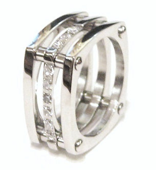 SSR1049 - 12mm Unique Square Stainless Steel CZ Ring