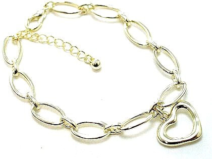 BR48 Gold Hollow Heart Chain Link Charm Bracelet
