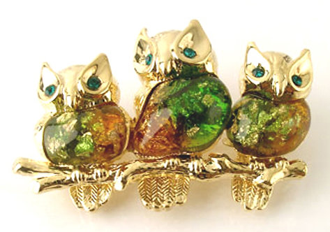 BP16 Iridescent Enamel Gold Owl Brooch