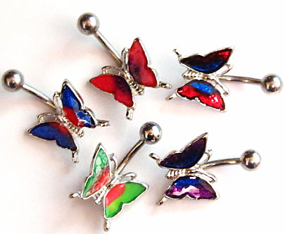 BJ55 Iridescent Butterfly Belly Ring - Choice of Color