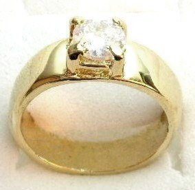 GSR01 Sparkling Clear CZ 18K Gold Solitaire Ring