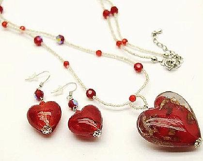NP157 Red Murano Glass 3D Heart Beaded Nekclace Earrings Set