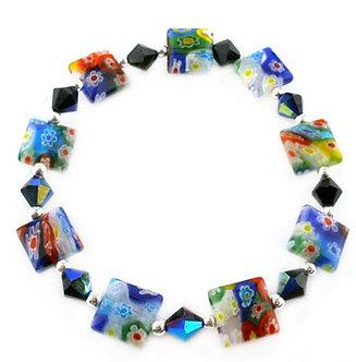 BR38 Multicolor Square Murano Glass Flower Stretch Bracelet