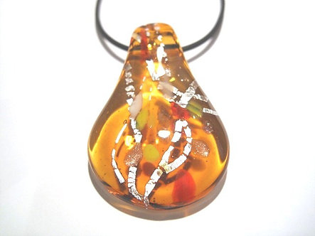NP127 Murano Glass Amber Silver Pendant Necklace