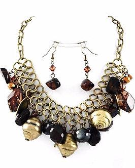 NP1116 Antique Gold Smoke Topaz Acrylic Metal Beads  Necklace Set