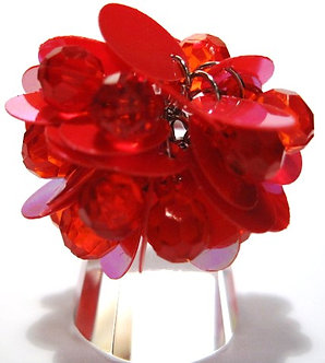 OS41 Dazzling RED Sequins Beads Cluster Cha Cha Ring