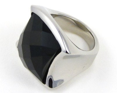 SSR2219 Black Onyx High Polish Stainless Steel Ring