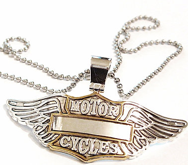 NP163 Bikers Motorcycle Wings Badge Stainless Steel Chain Pendant