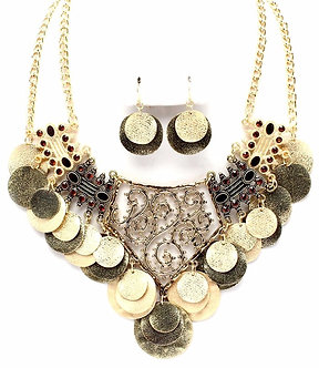 NP1047 Antique Gold Disc CZ Chunky Necklace Set