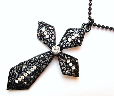 NP64 Extra Large Black Filigree Cross CZ Pendant