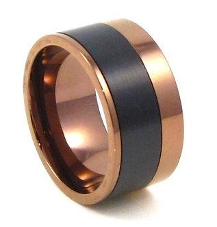 SSR4895 - 10mm Copper Black Stripe Stainless Steel Ring,