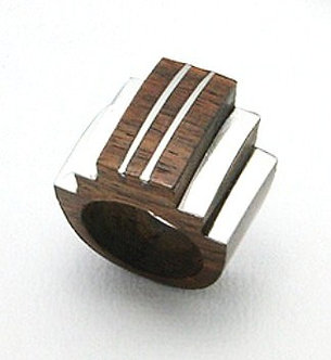 WR135 Exotic Wood Stainless Steel Chunky Statement Ring