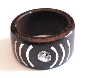 WR134 Exotic Wood Clear CZ Fashion Ring