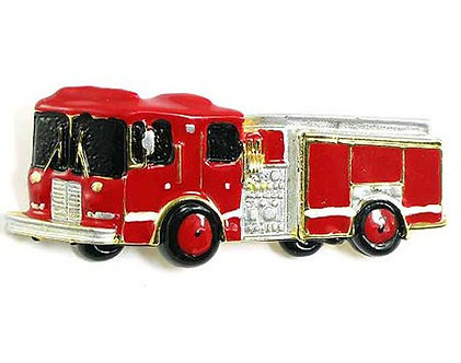 BP04 Red Enamel Fire Engine Truck Brooch