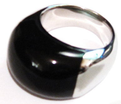 SSR1776 Chunky Black Onyx High Polish Stainless Steel Ring