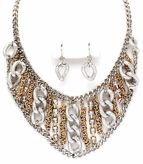 NP1023 Chunky Multitone CZ Chain Link Statement Necklace Earrings Set