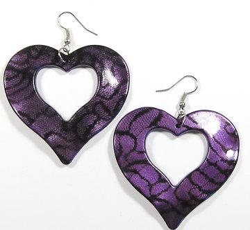 EA136 Purple 2.25 inch Wavy Heart Shape Dangle Earrings