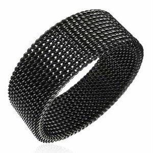 SSR528 Flexible Black Mesh Stainless Steel Ring
