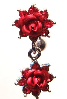 BJ20 Exquisite Double Rose Flower Reversed Belly Ring