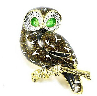 BP80 Adorable Crystal Enamel Owl Brooch