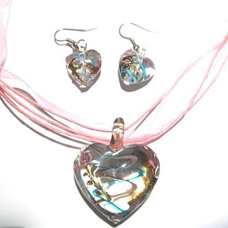 NP105 - 3D Blue/Pink Murano Glass Heart Necklace & Earrings SET