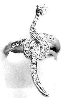 RR01 Sparkling Clear CZ Rhodium Finish Snake Fashion Ring