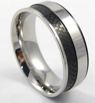 SSR4911 Black Carbon Fiber High Polish Stainless Steel Ring,