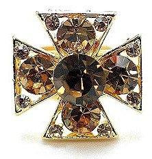 OS15 Amber Crystal Anti Tarnish Gold Cross Ring