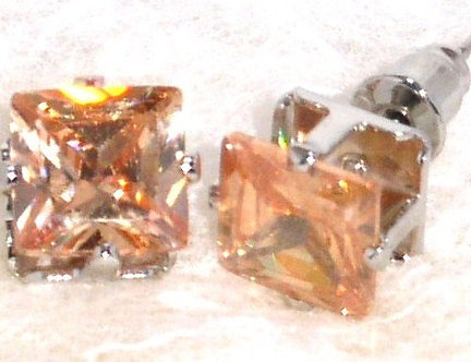 EA206 TOPAZ Faceted Square CZ Stud Post Earrings