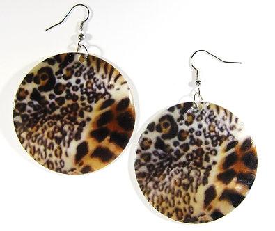 EA145 Animal Print Dangle Shell Earrings