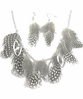 NP74 Trendy Black Grey Polka Dot Feather Necklace Earrings Set