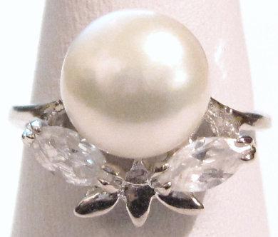 PR011 - 14K White Gold Plated White Pearl Ring