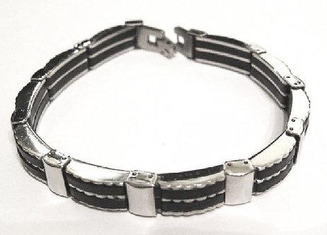 SSB22 Stainless Steel Rigid Black Rubber Bracelet
