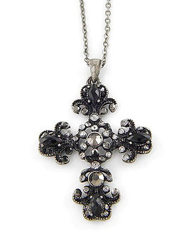 NP29 Black CZ Antique Silver Cross Pendant