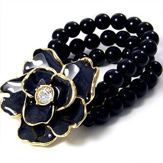 BR15 Black Flower CZ Glass Pearl Strands Stretch Bracelet