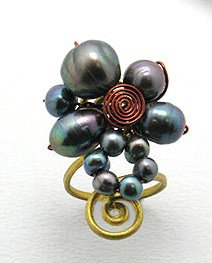 OS24 Chunky Pearl Flower Anti Tarnish Cocktail Ring