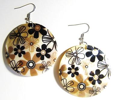 EA153 Flower Power Pattern Dangle Shell Earrings