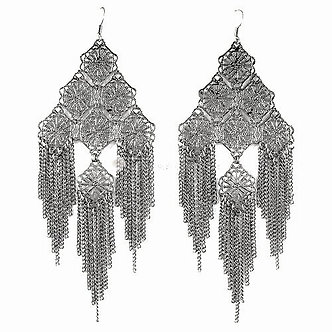 EA61 Stunning Filigree Pattern Chain Link Cascade Drop Earrings