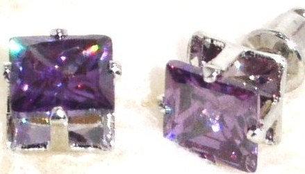 EA204 PURPLE Faceted Square CZ Stud Post Earrings
