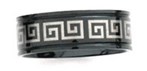 SSR08 - 8mm Black Titanium Stainless Steel Greek Key Ring