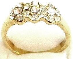GR03 Sparkling Clear CZ High Polish 18K Gold Ring