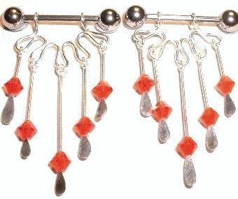 BJ61 - Pair of Red Crystal Stainless Steel Nipple Rings