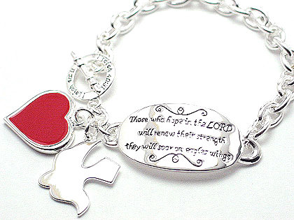 BR58 Inspirational Charm Bracelet: Isaiah 42.31 Those Who Hope in The Lord...