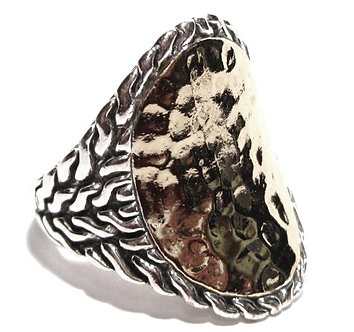WR102 Sterling Silver Celebrity Style Hammered Texture Chunky Ring