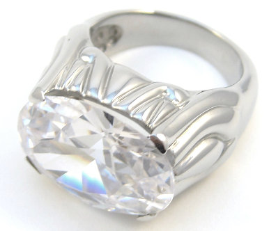 SSR4611 Sparkling Multi Faceted CZ High Polish Stainless Steel Ring