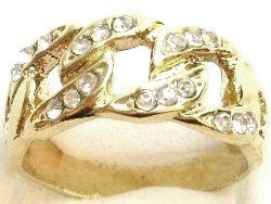 GR04 Sparkling Clear Crystals High Polish 18K Electroplate Gold Ring