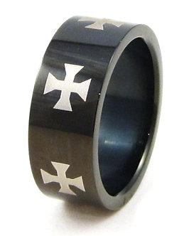 SSR4594 Unisex Iron Cross High Gloss Black Stainless Steel Ring