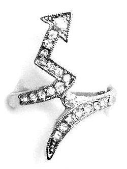 RR14 Sparkling Clear CZ Rhodium Finish Arrow Fashion Ring